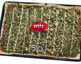 Football Field Flatbread for the Super Bowl