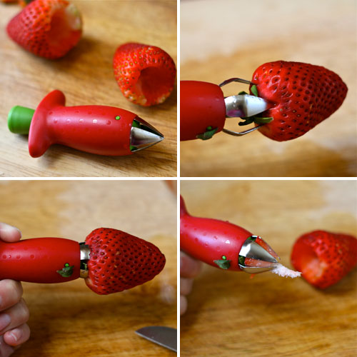 Carefully hull each strawberry using a strawberry huller , paring ...