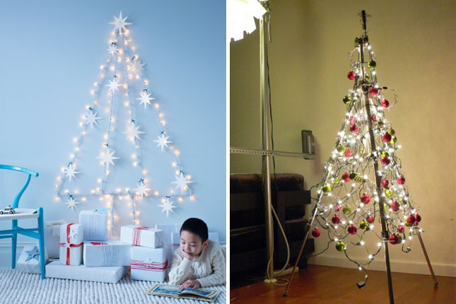 String Lights Wall Christmas Tree : Let There Be Light! 20 Festive Holiday Light Ideas Brit + Co
