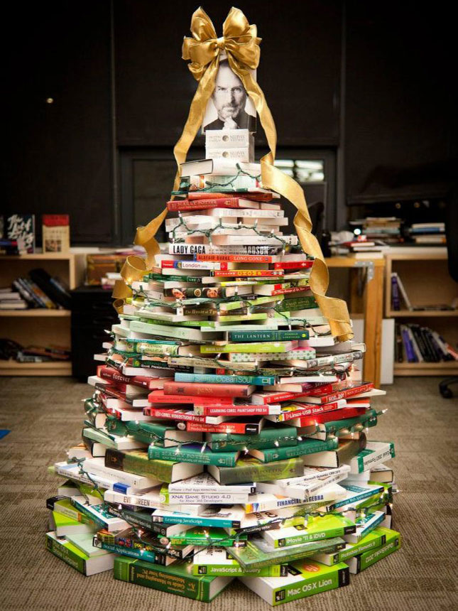 40 ideas for a non traditional christmas tree brit co for Christmas tree made from old books