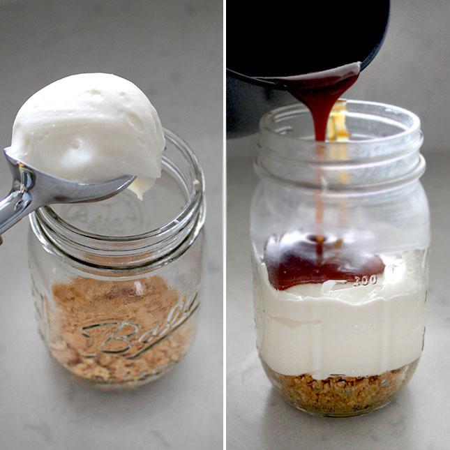 No-Bake Salted Caramel Cheesecake… in a Jar! | Brit + Co