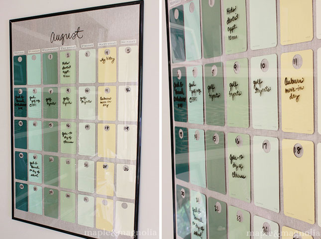 Diy Glass Calendar : Awesome paint chip diy projects brit co