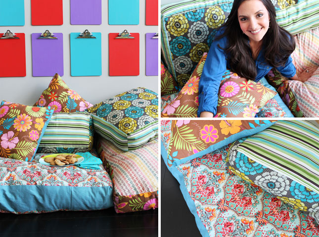 How to Create Your Own Colorful Jumbo Floor Pillows Brit + Co
