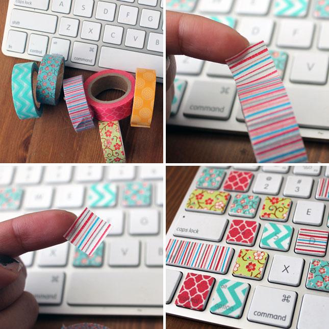 customiser son clavier d'ordinateur idées déco avec du masking tape