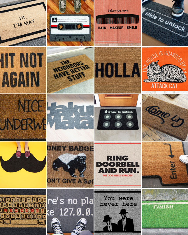 Knock knock who s there 20 hilarious welcome mats brit co - Geeky welcome mats ...