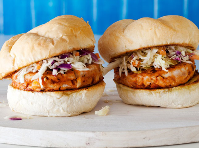 BBQ Chicken Burgers with with Slaw : On the grill or in a skillet ...