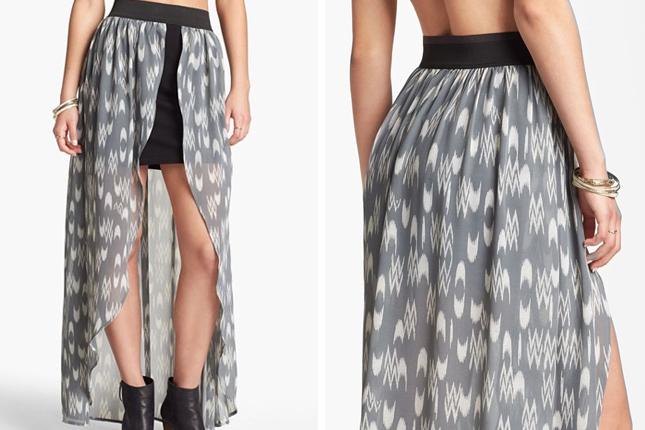 10. Chiffon Overlay ($42): Yowza! It's the mullet of maxi skirts ...