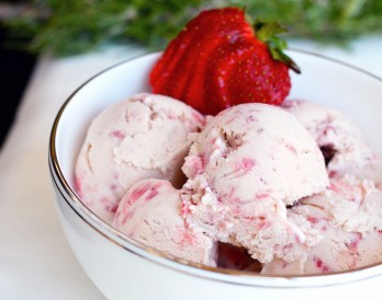 Strawberry Balsamic Rosemary Ice Cream