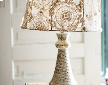 Doily Covered Lamp Shade Project