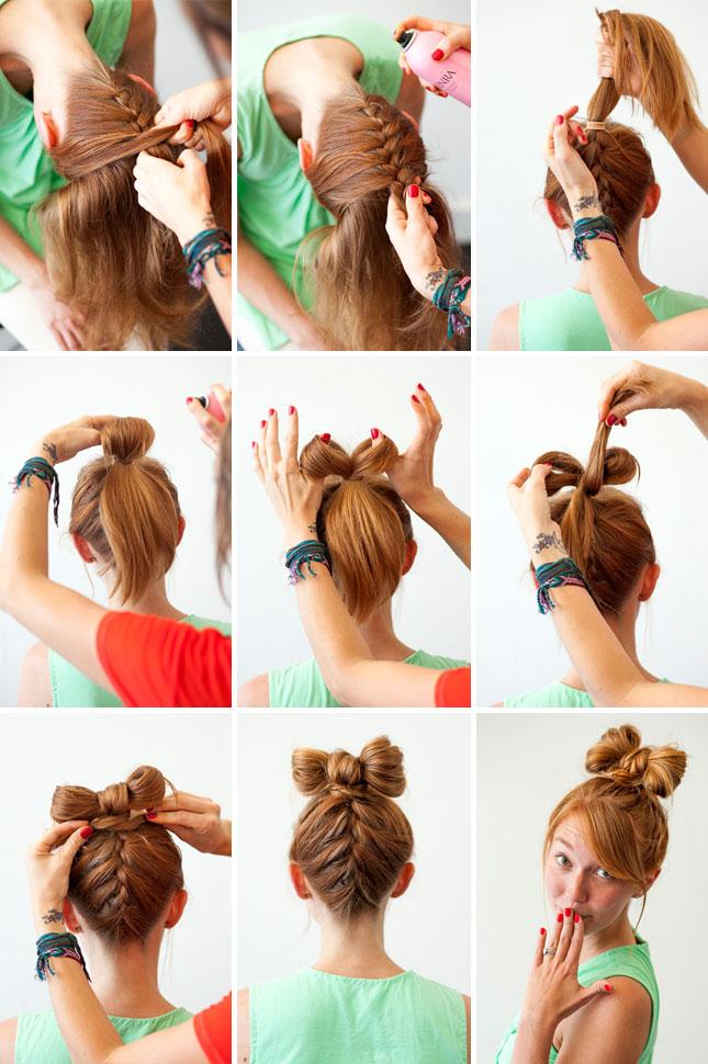 Бант из волос как сделать пошаговое фото