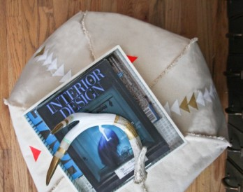 DIY Patterned Canvas Pouf