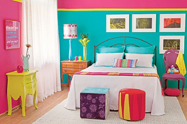 15 inspiring color blocked interiors brit co for Neon bedroom decor