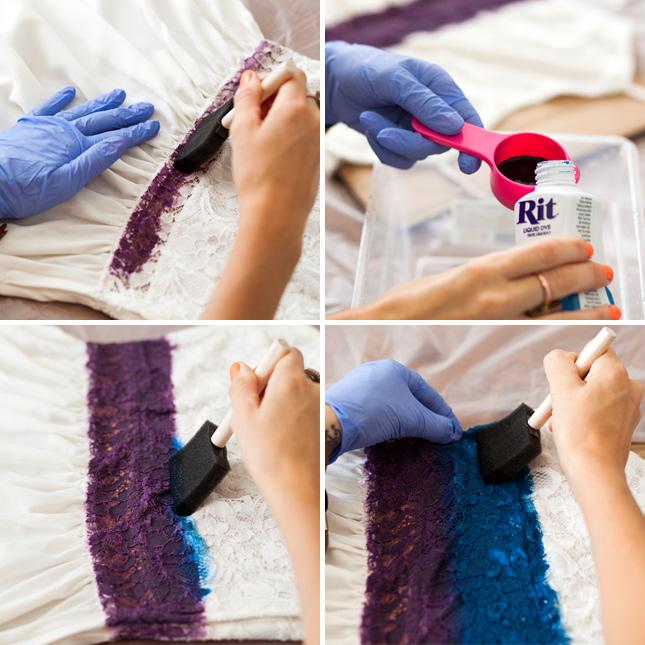 Как покрасить кружева в синий цвет