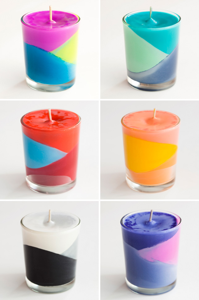 How To Use Crayons To Create Color Block Candles