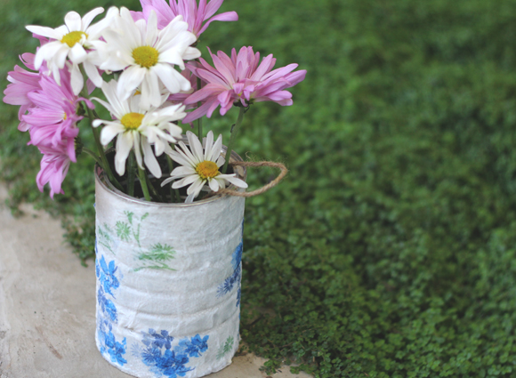 upcycle a tin can into a decoupage garden pail brit co