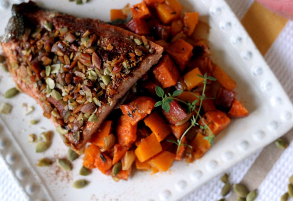 Pepita and Spice-crusted Salmon with Butternut Squash Hash