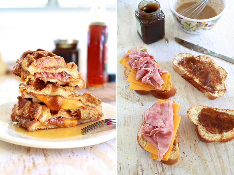 Ham and Cheese Stuffed Pumpkin Spice French Toast Waffles