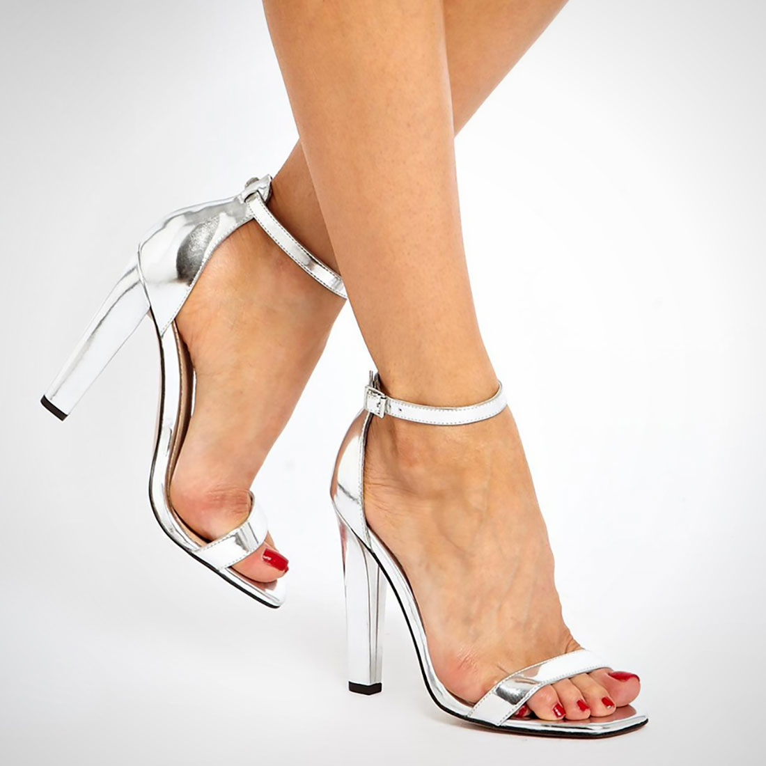 Black And Silver Strappy Heels - Qu Heel