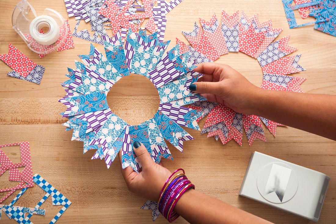 Use Origami Paper To Make Colorful Holiday Wreaths Brit Co