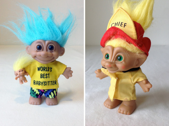 90s Troll Dolls And fire chief troll dolls