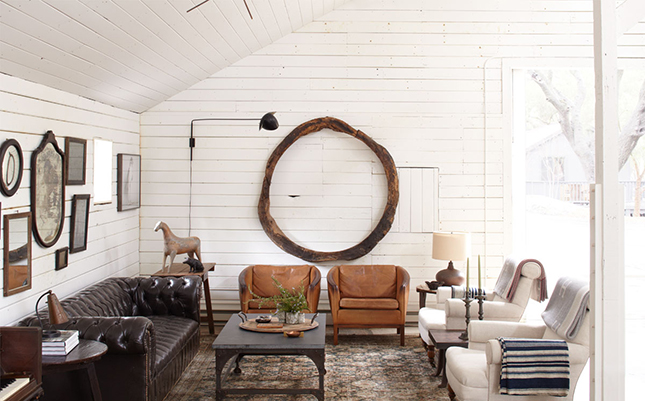 Art Barn White Wood Walls Are The Perfect Backdrop To Chocolate Camel And Seating In This Gorgeous Via Elle Decor