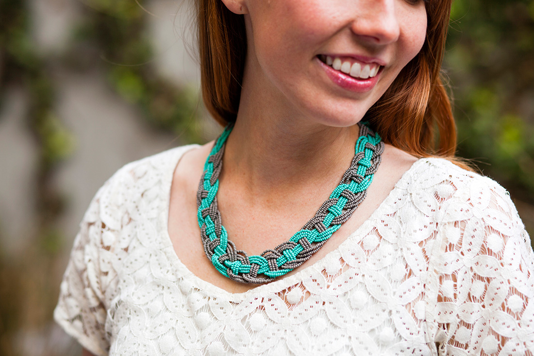 DIY Woven Bead Statement Necklace