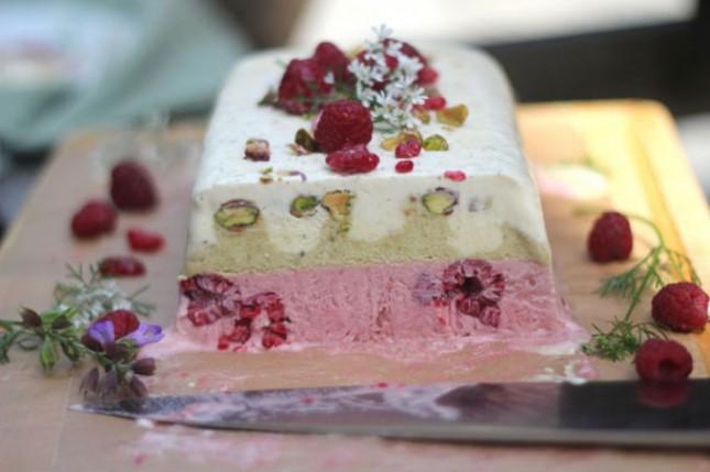 Raspberry, Pistachio and Vanilla Semifreddo : Raspberries, pistachios ...