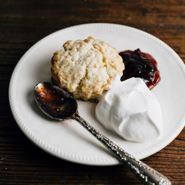 Sweet Cream Biscuits With Plum Jam and Earl Grey Whipped Cream ...