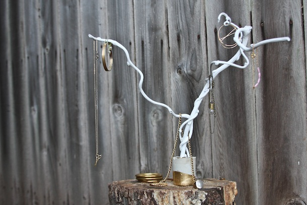 Make your own branch jewelry holder brit co for Tree branch jewelry holder