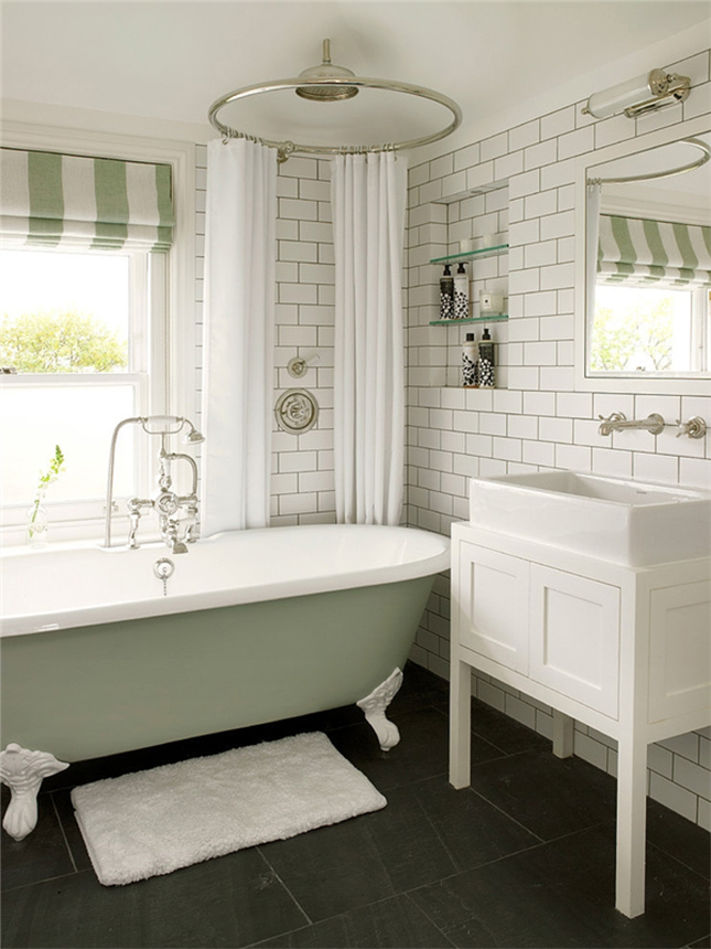 20 bathrooms we wouldn t mind sitting around in brit co for Sage green bathroom