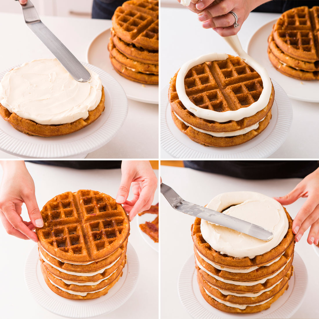 Alternate waffles with frosting until you've created a nice cake ...